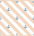 tile pattern with blue anchor on pastel stripes vector image