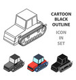 tracked tractor icon in cartoon style isolated on vector image vector image