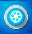 white film reel icon isolated on blue background vector image vector image