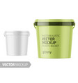 white glossy plastic bucket mockup with label vector image vector image