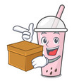 with box raspberry bubble tea character cartoon vector image vector image