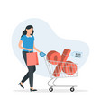 woman with shopping cart and percent sign in it vector image