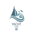 yacht and waves icon vector image vector image