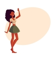 Young barefooted african american woman dancing vector image vector image