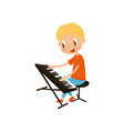 young keyboardist playing on synthesizer little vector image vector image