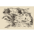 Waterfall landscape vintage engraving vector image