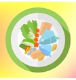 Plate fish salad flat icon vector image