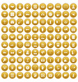 100 donation icons set gold vector image vector image