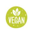 100 vegan logo round eco green logo vegan food vector image