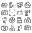 action camera and photography equipment icons set vector image vector image
