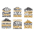 adventure camping hiking set bundle quote best vector image vector image