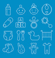 baby icons set isolated on blue background vector image vector image