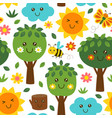 basic rgbseamless pattern with forest kawaii vector image vector image