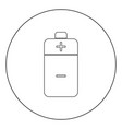 battery icon black color in circle vector image vector image