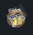 bruschetta with avocado egg and vector image