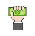 business hand holding dollar bill payment or vector image