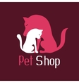 Cat and dog tender embrace sign for pet shop logo vector image