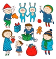 Childish christmas set in cartoon style vector image vector image