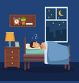 colorful scene man sleep with blanket in bedroom vector image