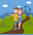 couple in love making selfie in front of ferris vector image vector image