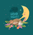 cute deer with bunny sleeping together among the vector image vector image