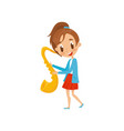 cute girl playing saxophone talented little vector image vector image