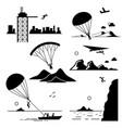 extreme sports - base jumping parachuting vector image vector image
