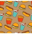 Fast food seamless pattern in retro style vector image vector image