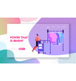 female character pushing trolley with clean vector image vector image
