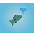 fish with bubble heart vector image