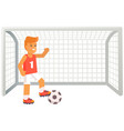 football player with ball soccer trainer near vector image vector image