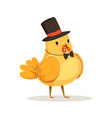 funny cartoon chick bird in a black top hat and vector image vector image