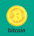 golden coin with bitcoin sign vector image
