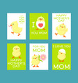 happy mothers day greeting cards set vector image vector image