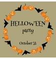 Helloween card wiht pumpkins and bats vector image vector image