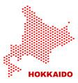 hokkaido map - mosaic of lovely hearts vector image vector image