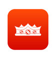 king crown icon digital red vector image vector image