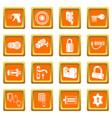 lock door types icons set orange square vector image vector image