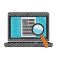 magnifying glass on computer scribble vector image vector image
