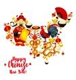 Map of China made up of Chinese New Year symbols vector image
