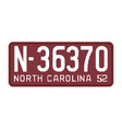 North Carolina 1952 license plate vector image vector image