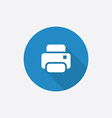 printer Flat Blue Simple Icon with long shadow vector image vector image
