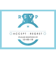 RSVP Wedding card blue ring theme vector image vector image