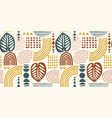 seamless pattern with abstract leaves and vector image vector image