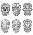 set hand drawn sugar skulls day dead vector image vector image