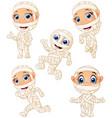 set of kid wearing mummy costume character vector image