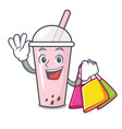 shopping raspberry bubble tea character cartoon vector image vector image