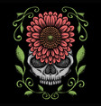 skull rose decoration vector image vector image
