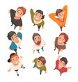 smiling people characters looking up set view vector image vector image