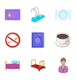 Staying in hotel icons set cartoon style vector image vector image